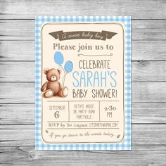 Teddy Bear Baby Shower Invitation Vintage Inspired Its a Boy