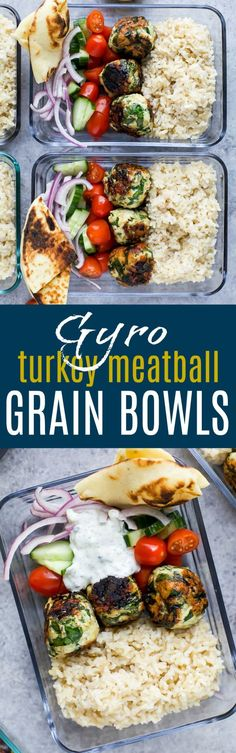 Five Approaches To Economize Transforming Your Kitchen Area Gyro Turkey Meatball Grain Bowls Drizzled In A Creamy Tzatziki Sauce Make The Perfect High Protein Meal Prep Recipe Or Weeknight Dinner, Only 370 Calories A Serving. High Protein Meal Prep, Easy Healthy Meal Prep, Healthy Weeknight Dinners, High Protein Recipes, Healthy Dinner Recipes, Healthy Eating, Healthy Breakfasts, Healthy Protein, Protein Foods