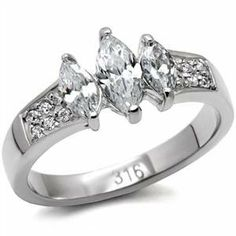 Stainless Steel Marquise Cubic Zirconia Past Present & Future Engagement Ring Eternal Sparkles. $31.99
