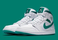58781f401d8e The Air Jordan 1 Mid Returns In White and Mystic Green