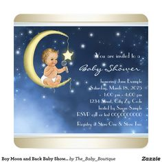 Boy Moon and Back Baby Shower Card