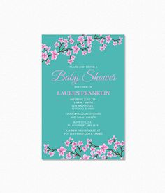 Cherry Blossom Baby Shower Invitation, Pink Cherry Blossoms, Personalized…