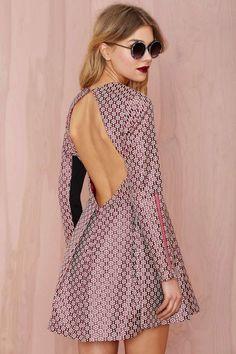 open back jacquard dress