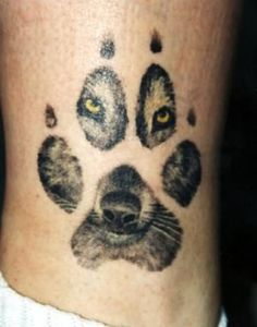Cool Wolf Paw Face Tattoo Print Tattoos picture