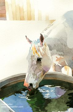 """Artist and painter Don Weller's """"Sip,"""" Original fine Western art watercolor cowboy painting of a horse drinking from water trough Watercolor Horse, Watercolor Artists, Watercolor Animals, Watercolor Paintings, Pastel Paintings, Watercolours, Art And Illustration, Animal Paintings, Animal Drawings"""