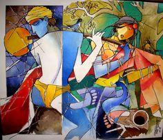 Biplab Biswas Indian Folk Art, Indian Artist, Krishna Painting, Krishna Art, Indian Art Paintings, Easy Paintings, Om Namah Shivaya, Modern Art, Contemporary Art
