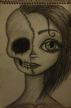 • félarcú lány • koponya • skull