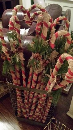 DIY rustic candy canes Wrap the dollar store plastic candy canes in burlap