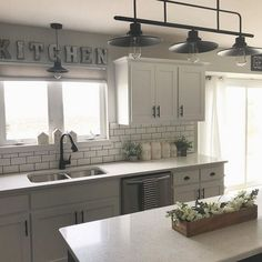30+ Kids, Work and Dream Kitchen Ideas Country Farmhouse Style Light Fixtures - inspirabytes.com