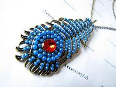 ancient vintage style blue feather pandent women by braceletcool
