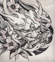 Tattoo designs sleeve sketches art Ideas for 2019 Japanese Mask Tattoo, Japanese Dragon Tattoos, Japanese Tattoo Designs, Japanese Sleeve Tattoos, Hannya Maske Tattoo, Oni Mask Tattoo, Tattoo Sketches, Tattoo Drawings, Body Art Tattoos