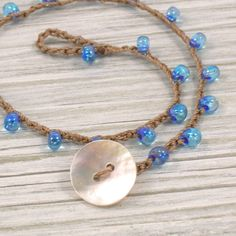 Sapphire Blue Beaded Crochet Anklet with Tiny Tear Drop Beads and Real Shell Button, Bohemian Boho Beach Jewelry. via Etsy.