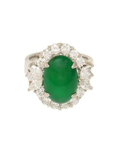 London Jewelers Collection 18k White Gold, Green Jade and Diamond Ring!