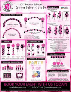Balloon Decor | Price Guide | Party | Cleveland Ohio | Bar/Bat Mitzvah | www.whimzeyllc.com