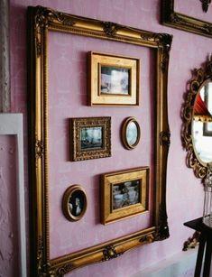 Bilder im Bild, Goldrahmen, Galeriewand, Gold und Violett Gallery Wall Frames, Frames On Wall, Picture Wall, Picture Frames, Shutter Decor, Vintage Photo Frames, Empty Frames, Wall Decor, Design