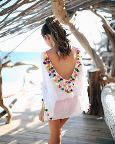 Womens Sexy V-Neck Backless Front Cross Beach Chiffon Cover-up