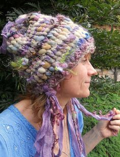 knit hat rustic curly super soft slouchy fantasy by beautifulplace, $67.00