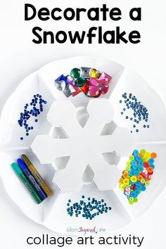 Snowflake winter craft activity for kids. This winter process art activity is a great way to develop fine motor skills and creativity! Winter Activities for Kids Winter Activities For Kids, Winter Crafts For Kids, Winter Fun, Winter Theme, Art Activities, Kids Crafts, Easy Crafts, Snow Preschool Crafts, Winter Crafts For Preschoolers