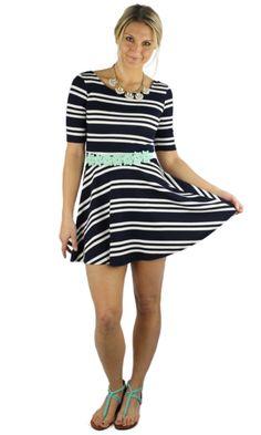Striped Skater Dress - Navy/White
