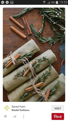 Handtied. You can use any herbs on a stalk and some cinnamon.