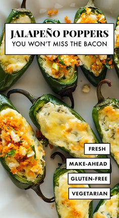 This lightened-up baked jalapeño popper recipe will be a BIG hit! Theyre stuffed with fresh herbed cream cheese and topped with golden cheddar cheese and a crispy and irresistible barbecue potato chip topping. Plus theyre vegetarian and gluten free. Jalapeno Popper Recipes, Grilled Jalapeno Poppers, Fresh Jalapeno Recipes, Vegetarian Recipes, Cooking Recipes, Healthy Recipes, Bacon Recipes, Vegetarian Grilling, Vegetarian Food