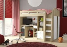 Combi Bunk Bed Mid / High Sleeper with Computer Desk & Wardrobe. Combi Sleep Station Bed with Wardrobe, High / Mid Sleeper with Workstation. Bunk Bed With Desk, Bunk Beds With Storage, Bed With Drawers, Bed Storage, Desk Bed, Clothes Storage, Desk Lamp, Storage Ideas, Cabin Bed With Wardrobe