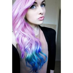 pink&blue hair ❤ liked on Polyvore featuring hair, hairstyles, girls, beauty and hair styles