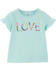 Toddler Girl Sequin Love Jersey Tee   Carters.com Toddler Girl Shorts, Toddler Outfits, Kids Outfits, Love Slogan, My Little Nieces, Baby Necessities, I Love Mom, Carters Baby Girl, To My Daughter