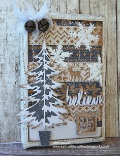"""Simon Says Stamp Monday Challenge """"O Christmas Tree"""" 28 November 2016 using Tim Holtz Idea-ology Burlap Panel, Dapper Stash Pad, Textile Surfaces, Sizzix Thinlits.Holiday Knit, Woodlands and Holiday Words Script and Snowflakes Layering Stencil Dyi Christmas Cards, Christmas Shadow Boxes, Christmas Paper, Handmade Christmas, Holiday Cards, Christmas Crafts, Christmas 2017, Christmas Ornament, Christmas Decorations"""