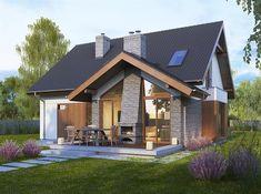 Projekt domu z poddaszem Telimena o pow. 110,7 m2 z garażem 1-st., z dachem dwuspadowym, z tarasem, z wykuszem, sprawdź!