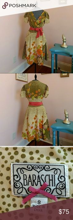Moon River Cream Cotton Nightdress with an Orange Trim and Floral Motif BNWT