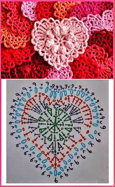 Crochet Heart Motif - Free Crochet Diagram - Then just add your…pretty crochet heart by Stoeps; i like the miniature flower budsDiscover thousands of images about pretty crochet heartPatrones Crochet Corazones San Valentin - Crochet and KnitDelicad Crochet Diagram, Crochet Chart, Thread Crochet, Crochet Motif, Crochet Doilies, Crochet Flowers, Crochet Stitches, Knit Crochet, Crochet Owls