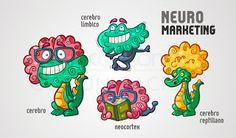 Ilustraciones de Neocortex, cerebro límbico y cerebro reptiliano