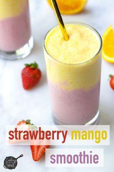 Strawberry Mango Smoothie Super fruity and refreshing # Good Smoothies, Smoothie Drinks, Smoothie Bowl, Smoothie Recipes, Mango Smoothies, Diabetic Smoothies, Drink Recipes, Parfait, Strawberry Mango Smoothie