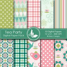 TEA PARTY    This listing is for 10 printable High Quality Digital papers.    Each paper measures 12 x 12 inch, 300 DPI, JPEG format.    Great for book and photo album covers, gift wraps, bookmarks, scrapbooking, invitations and making cards, stationary, labels and tags,jewelry, collages, stickers, photographers.    Keywords: Spring, Tea, party, Summer, Butterflies, Rain, Flower, Clouds, Flowers, Argyle, flowers, modern, Strips, Polka Dots, Scrapbooking Paper, Digital Papers, Shery K…