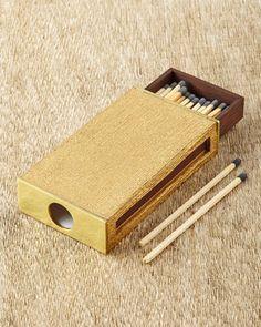 Golden Linen Matchbox Sleeve by AERIN at Neiman Marcus.