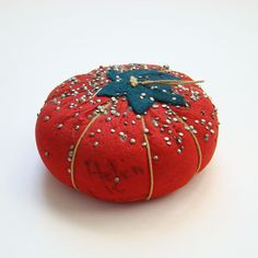 Vintage Large Sewing Tomato Pin Cushion Loads of Pins Signed Helen K Evans
