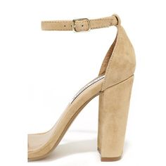 Steve Madden Carrson Sand Suede Leather Ankle Strap Heels (86 BAM) via Polyvore featuring shoes, pumps, steve madden, suede pumps, ankle strap pumps, ankle strap shoes and sand pump