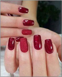 Red Shellac Nails, Red Acrylic Nails, Acrylic Nail Designs, Glitter Nails, Red Ombre Nails, Red Nail Designs, Nail Polish, Christmas Gel Nails, Holiday Nails