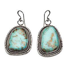 Boucles d'oreilles Navajo, turquoises Pilot Mountain sur argent  | Harpo Paris #bijouxamérindiens #bouclesdoreilles #turquoise #navajo