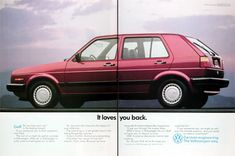 1989 VW Golf Hatchback original vintage advertisement. It loves you back. A Volkswagen is solid, practical and great fun to drive. It will become the object of your affection. The nice thing is, it will gladly return it by being the perfect partner. Honest. Faithful. And not very demanding. German Engineering. The Volkswagen Way.