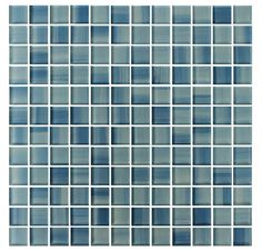 Blue Skies Hand Painted 1x1 Glass Mosaic Tiles - Blue and White