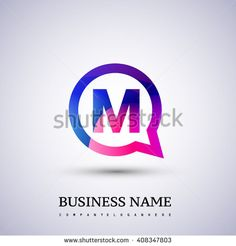 M letter colorful logo on circle. Vector design template elements for your application or company logo identity. - stock vector