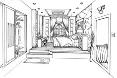 Many students begin drawing an interior by launching in with furniture and windows. It is important to remember that you can manipulate the shape of the room itself. In this example an open closet and a raised floor area to create a visually interesting interior, before the other elements are added. Note the attention to detail in this drawing, with feature wallpaper, shoes and clothes added as finishing touches.