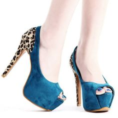 2012 stylish peep toe shoes blue and animal print on heels, might be the first time I like leopar print :)