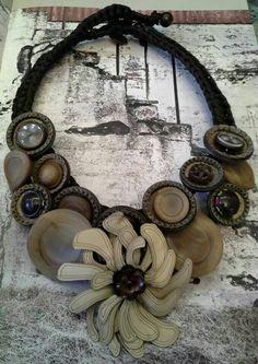 #vintagebuttons #leatherflower #necklace #uniquehandmade