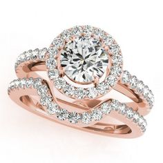 Halo Ring 10k Rose Gold Plated 925 Silver Women's Engagement bridal Ring Set  #aonedesigns