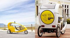 In South Africa, free-to-use electric cycle taxis are paid for by ads