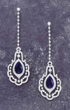 PHILLIPS : CH060108, , A Pair of Unheated Burma Sapphire and Diamond Earpendants