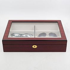 6 Piece Extra Large Cherry Wood Rosewood Eyeglass Sunglass Glasses Display Case Organizer Collector Box